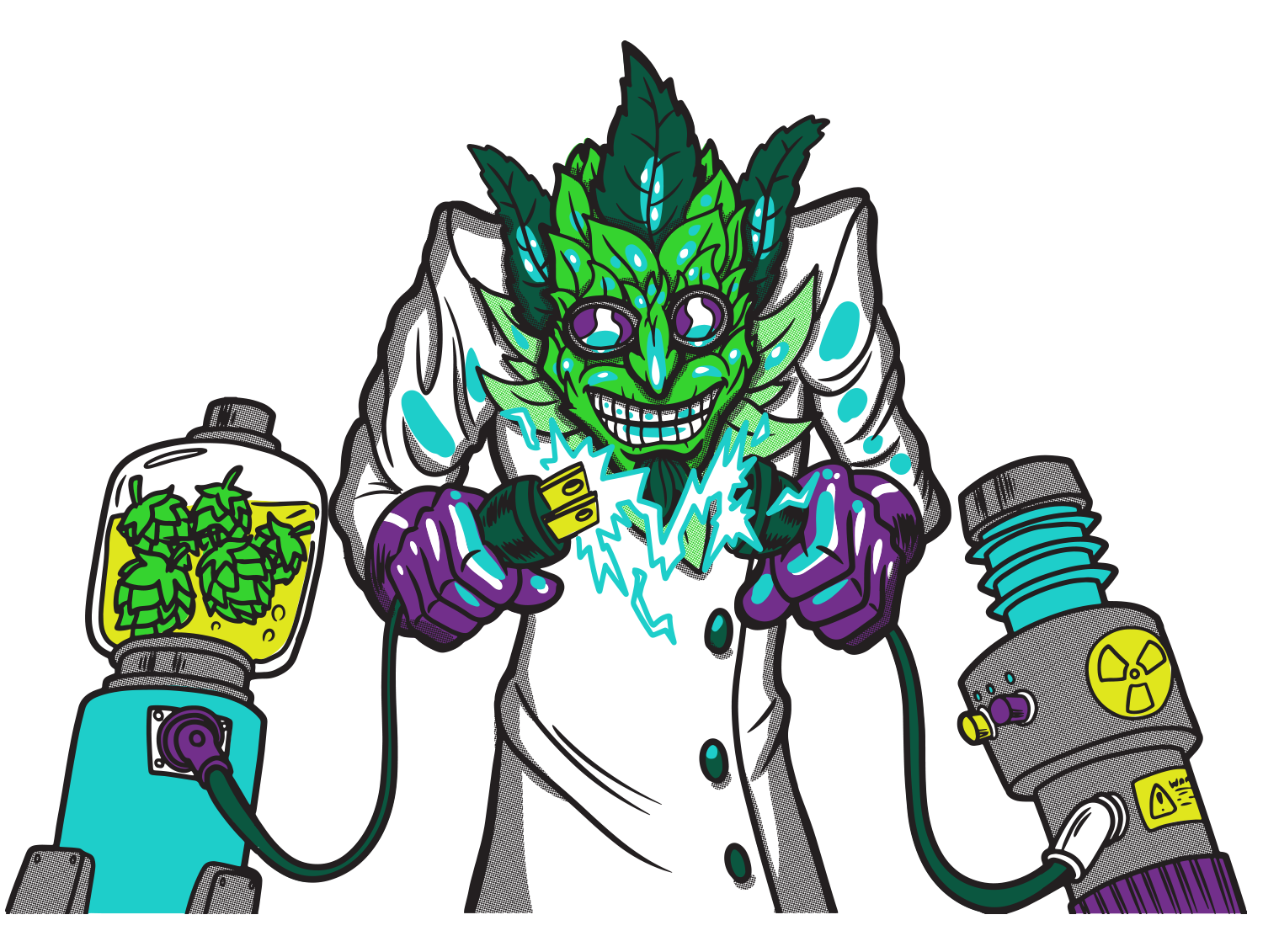 Dr Dank Beer Cartoon with Mad Scientist for 420